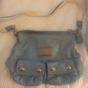 Powder blue coach crossbody bag